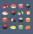 cartoon sushi rolls japanese cuisine seafood vector image