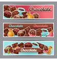 Chocolate horizontal banners with various tasty vector image
