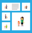 flat icon people set of daugther son grandpa vector image