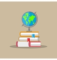 globe pile of books education concept vector image