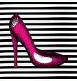 magenta heel shoe sketch in pop art on black vector image