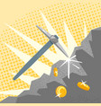 mining golden coins vector image