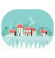 Winter background with a peaceful village in snow vector image