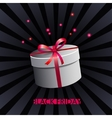White gift box on black background vector image vector image