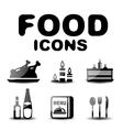 Food black glossy icon set vector image