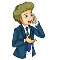 A businessman using a cellular phone vector image vector image