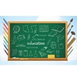 school background with blackboard pencils and vector image
