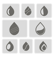 monochrome icons with water drops vector image