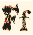 Fiery font Letter F on white vector image