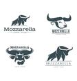 set of logos with buffalo mozzarella cheese vector image