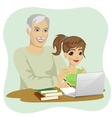 granddaughter helping grandfather to use laptop vector image vector image