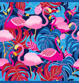 beautiful bright tropical pattern of pink vector image