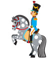 cartoon soldier riding a grey horse vector image