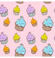 Cute vintage cupcake seamless texture vector image