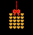 gift card of glitter golden heart with red bow vector image
