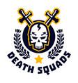 logo death squad human skull and cross swords vector image