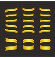 Set of golden ribbons on black vector image