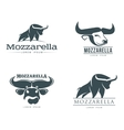 set of logos with buffalo mozzarella cheese vector image