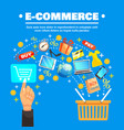 shopping cart background concept vector image