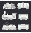 Trendy flat modern and vintage trains with cargo vector image