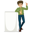 An empty signage beside the businessman vector image vector image