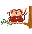 Two monkeys cartoon sitting on a tree vector image