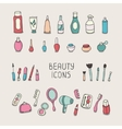 Set of vintage cosmetics elements and beauty vector image