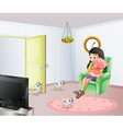 A young girl inside the room with her pets vector image