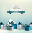 Holiday Christmas background with a border of gift vector image