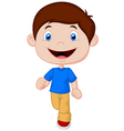 Little boy cartoon walking vector image
