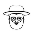 male face with glasses short hair and hat and vector image