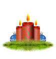 Pine branches with candle and Christmas balls vector image