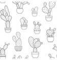 pottet cactus plants seamless pattern black white vector image