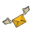 drawing winged email envelope mail express vector image