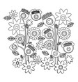 monochrome background with set of retro flowers vector image