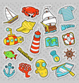 nautical marine life doodle with fish submarine vector image