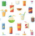 seamless pattern with non alcoholic drinks vector image