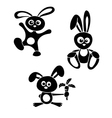 black and white rabbits vector image