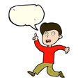 cartoon boy panicking with speech bubble vector image