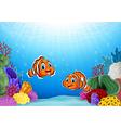 Cartoon Clown Fish with beautiful underwater world vector image