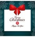card greeting ribbon merry christmas design vector image