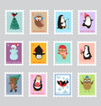 christmas santa postage stamps for greeting card vector image
