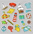nautical marine life doodle with fish submarine vector image