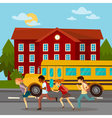 School Building Scholars Running to School vector image