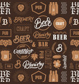 seamless pattern with hand written lettering words vector image