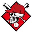 Skull wearing hat and crossed baseball bat vector image