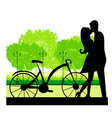 Sillhouette of sweet young couple in love standing vector
