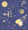 seamless pattern cartoon space rocket vector image
