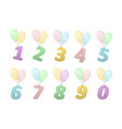 set of volume numbers on balloons vector image
