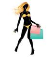 Silhouette of shopping blond girl in bikini2 vector image